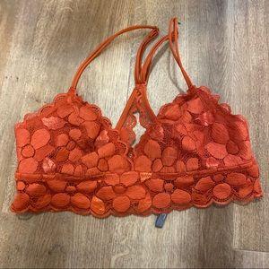 Aerie Orange Lace Bralette Size Medium